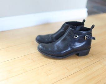 vintage clarks black leather buckle oxford ankle boots womens 6 1/2