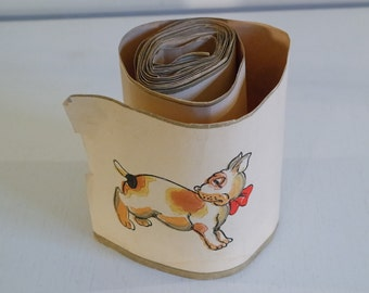 Vintage 50 2 rolls of wall paper frieze with dogs
