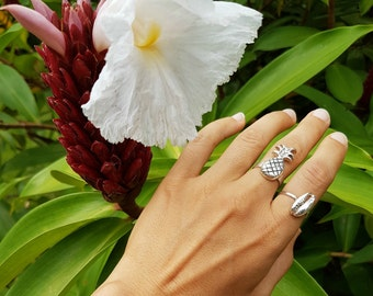 925 Silver Ring, Fruit Ring, Unique Ring, Silver Food Jewelry, Tropical Ring, Summer Jewelry, Island Jewelry, Fun Ring, Pineapple Jewelry