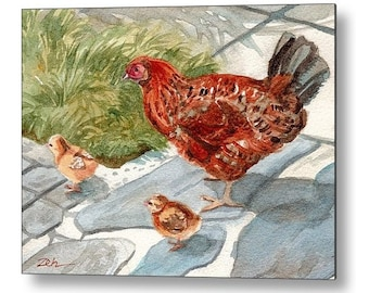 Chicken Art Printed on Wood Hen and Chicks Watercolor Farm Animal Watercolor Painting by Janet Zeh Zehland