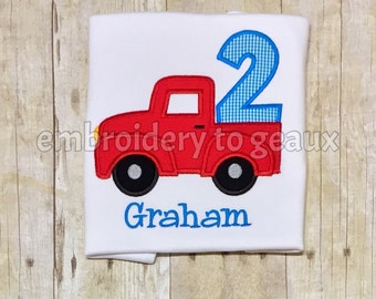 Red Truck Second Birthday T-Shirt, Boys Birthday Shirt, Truck Birthday Shirt, First Birthday T-shirt, Boys 1st Birthday