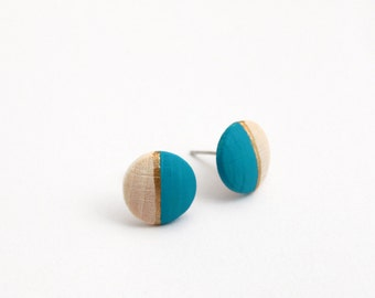 Geomeric stud earrings - sky blue, gold, natural wood - minimalist, modern hand painted wooden jewelry