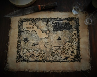 Map of the Realm of Balor ~ Hand pulled screen print on hand dyed linen, artwork by Sean Fitzgerald **MADE TO ORDER**