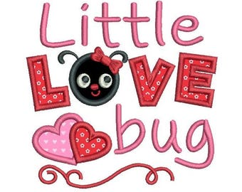 Valentine's Day Machine Embroidery Applique Design, Cute Love Bug, Heart Design, Love Word Embroidery, 3 Sizes, Instant Download, SA546-19