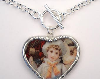 Broken China Necklace Sailor Boy Heart Pendant Handcrafted Jewelry by Charmedware