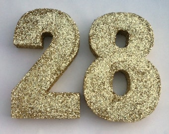 Glitter Paper Mache Numbers - Golden Birthday Decor/ Wedding Table Numbers