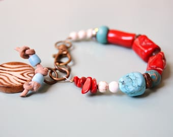 CORAL and TURQUOISE White Magnesite Zebra Charm Bracelet
