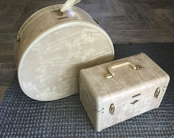 Set of Two 1950s Beige Samsonite Luggage Train and Hat Case