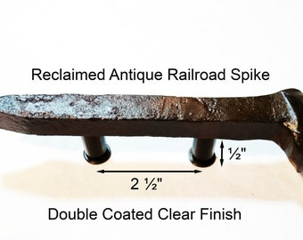 """2 1/2"""" Right Sealed Railroad Spike Cupboard Handle Dresser Drawer Pull Cabinet Knob Antique Vintage Old Rustic Re-purposed House Restoration"""