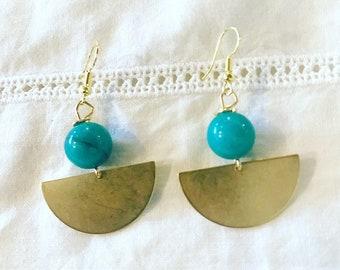 Brass and jade earrings