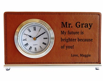 Gift for Mentor - Thank You Gifts - Personalized Appreciation Teacher Gifts - Office Desk Clock, LCT010