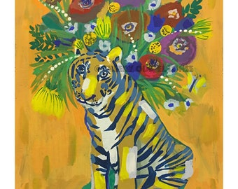 Eye of The Tiger Vase • print • giclee • Tiger • minimalist • floral • yellow and blue • whimsical • flower vase art series • modern • gift