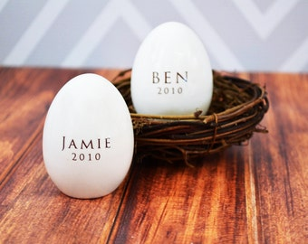 Set of 2 - Personalized Ceramic Easter Egg - Unique Easter Gift Idea