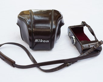 Vintage Nikon Camera Case / Cover - Brown Leather With Strap - Made in Japan - Photographic Photographer Accessory