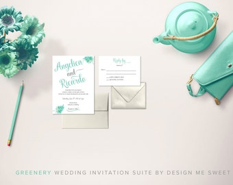 Greenery Calligraphy Wedding Invitation Suite by Design Me Sweet