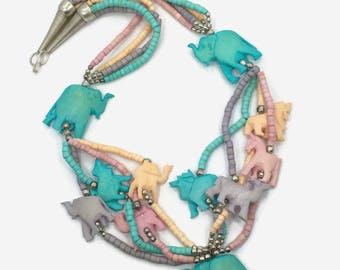 Elephant Necklace, Carved Bone, Vintage Necklace, Pink, Aqua, Peach, Lavender, Animal, Camel, Multi Strand, Pastel, Statement, Festival