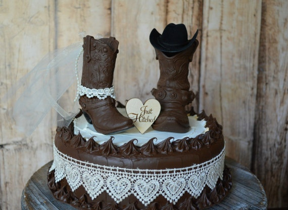 cowboy boot wedding cake topper Just hitched sign country barn