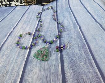 Ruby in Zoisite Necklace Set, Fish Hook Earrings, Bracelet, Natural Gemstone, Green, Pink, Purple
