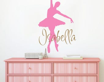 Ballerina Wall Decal / Wall Decal Name - Girls Name Decal. Girl Wall Vinyl Sticker Ballet Nursery Personalized Name. Nursery Wall Decor F98