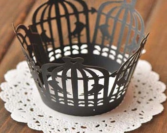 50x Black Birdcage Cupcake Wrapper for Wedding Party Cake Tree  Decoration | Reception Centerpiece Baking Decor