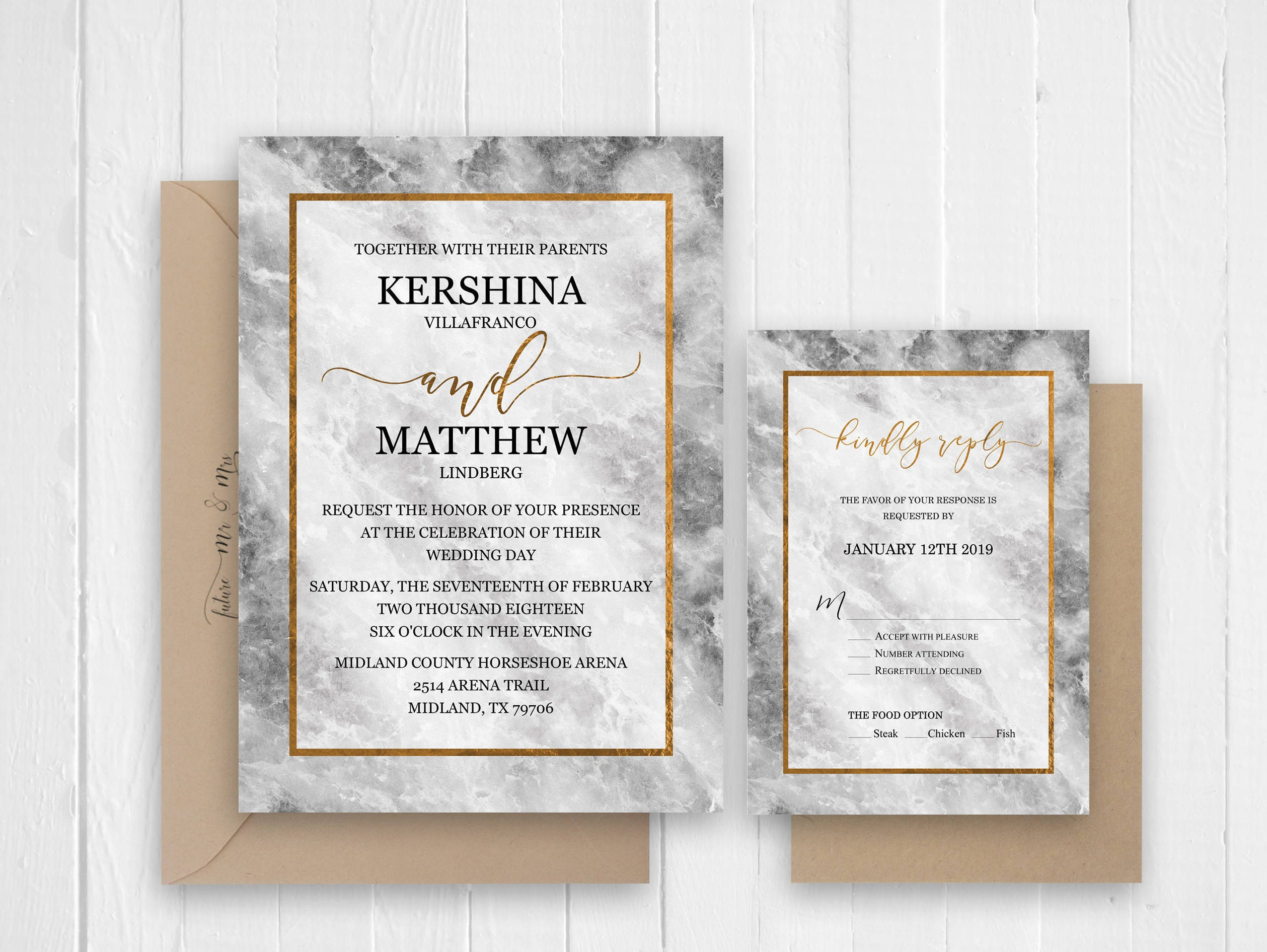 Marble Wedding Invitation Set Modern Wedding Invitation Details RSVP ...