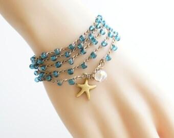 Starfish Crochet Wrap Bracelet Starfish Beach Bracelet Friendship Bracelet Beaded Crochet Necklace Crochet Bracelet Boho Mermaid Gift Idea
