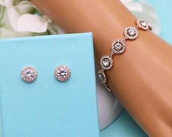 Rhinestone Bracelet Set Rose Gold, Bracelet and Earrings Set, rhinestone crystal bracelet, bridal jewelry, Carolina Rhinestone