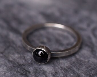 Onyx Blacklite Ring - Oxidised Sterling Silver