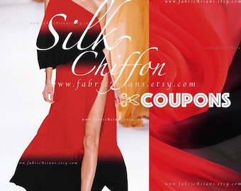 Black Red Silk Chiffon Gradient Fabric by the yard