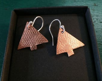 Handmade earrings Copper and silver trees