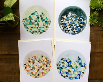 Abstract art cards, triangle, circle, mountain, geometry  4 pack of cards, watercolor painting, illustrated design