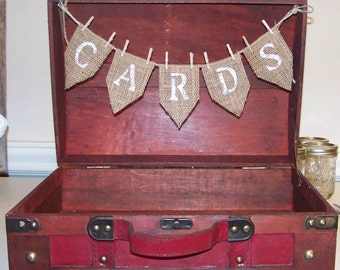 Wedding Card Box with Burlap banner in Red Leather Like