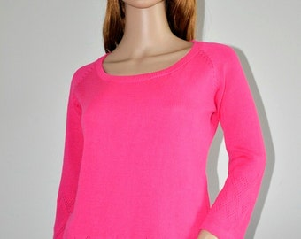 Pink  sweater  cotton pullover  Original Design Women  loose knit boho jumper Ready to Ship Womens wear M/L