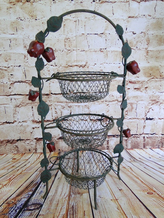 Like this item? & Red Apple / 3-Tier Plate Holder w. Wire Baskets / Serving