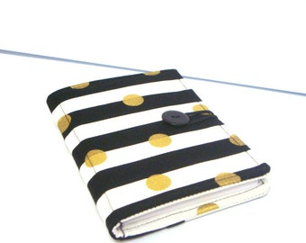 Honey Do List , Grocery List Taker  Comes with Pad and Pen Black and White Stripes with Gold Dots
