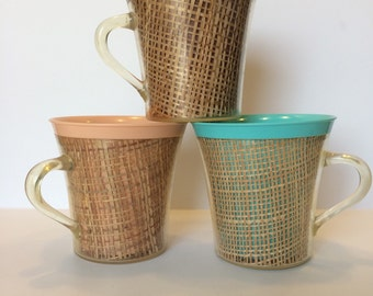 Vintage Raffiaware Mugs Set of Three Burlap Wrapped Coffee Mugs Melmac Mugs