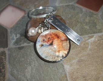 Cat Keychain - Favorite Pet or In Remembrance - Custom Photo - Tree of Life - Antique Silver - Personalized