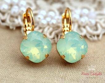 Mint Opal Green drop earrings, Mint droplet Swarovski earrings, imperialistic drop earrings, bridesmaids earrings, Rhinestone earrings