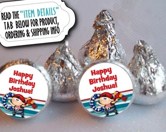 """3/4"""" Candy Stickers, Candy Favor Labels, Kiss Labels, Birthday Party, Pirates, Parrot, Red and Blue"""