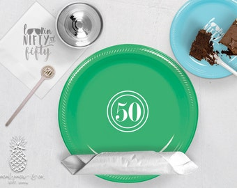 50th Birthday Party Plates, Napkins, Cups or Stir Sticks | social graces and Co