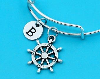 Love rudder bangle bracelet, rudder bracelet, custom charm pendant, personalized bracelet, BFF bangle, custom bracelet, ship steering wheel