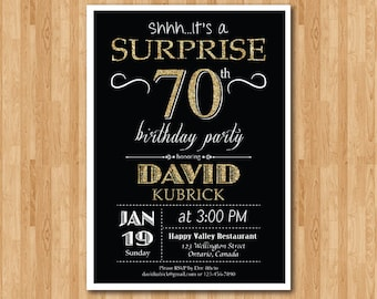 Surprise 70th birthday invitation. Chalkboard. Gold Glitter Birthday Party invite. 40th 50th 60th 70th 80th 90th Any age. Printable digital.