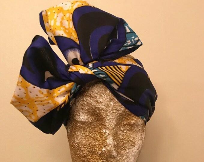 Blue and Yellow Kuchena Half Head Wrap