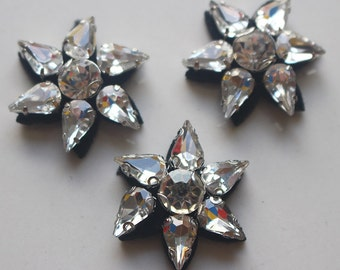 """15pcs 3cm 1.18"""" wide flowers beads Rhinestones clothes appliques patches brooches 41W401104 free ship"""