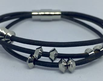 Leather bracelet with stainless steel beads
