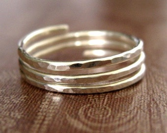TRINITY (closed band) Adjustable Ring - sterling silver - custom sized
