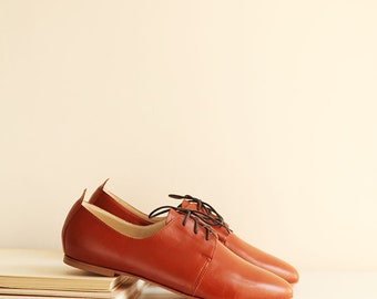 The Oxford Shoes in Cognac | Derby Style Women's Leather Shoes in Cognac Brown