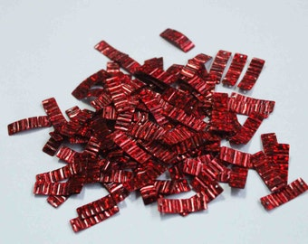 100 Wine Red Color /Crimpled Texture / Metallic / Rectangle Sequins/KBRGS312