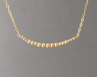 Gradient Beads Gold Fill Necklace also in Sterling Silver and Rose Gold Fill