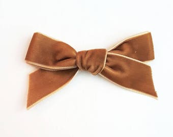 Caramel velvet bow, velvet headband